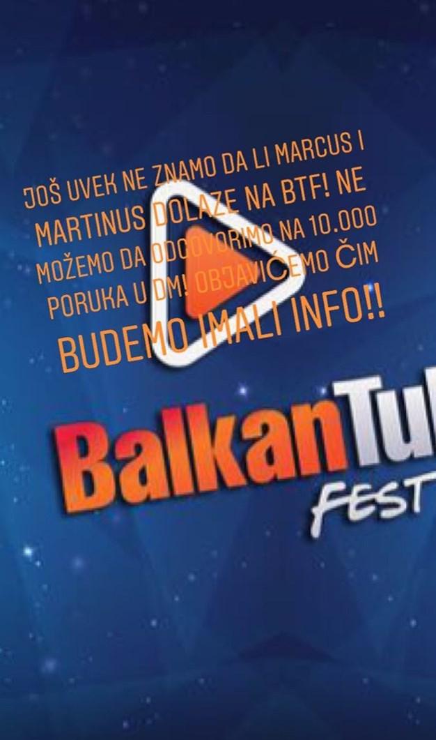 Balkan Tube Fest se oglasio na instagramu povodom Marcus i Martinus dolaska na BTF; Foto instagram story @balkantubefest