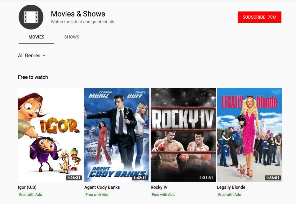 Besplatni filmovi na Youtube; Movies and Shows Youtube; Foto screenshot