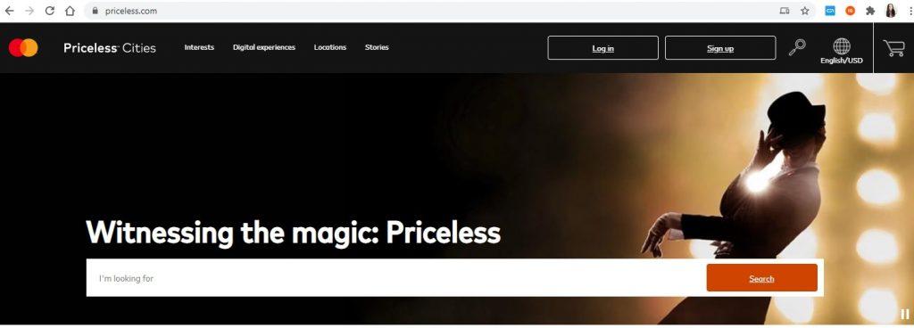Website priceless.com; Foto screenshot